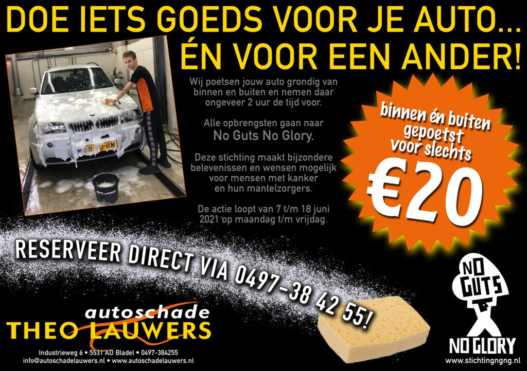 Flyer voor de autowasactie van Jack Theuws
